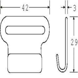 FH2505P - PVC Coated Flat Hook - Diagram