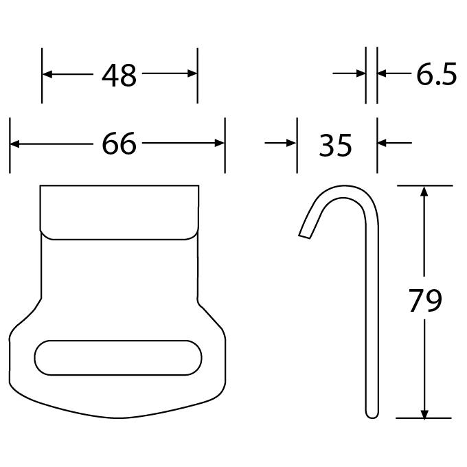 HDR5050F - Flat Hook - Diagram