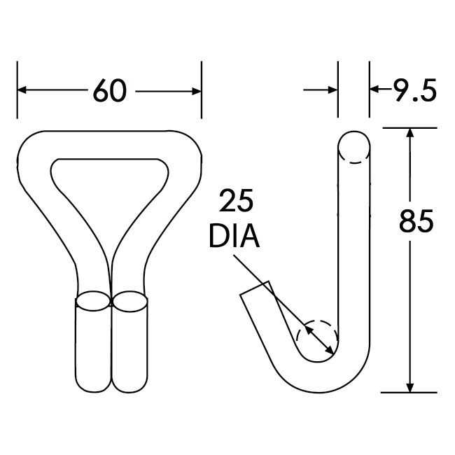 WH3510SS - Wire Hook - Diagram