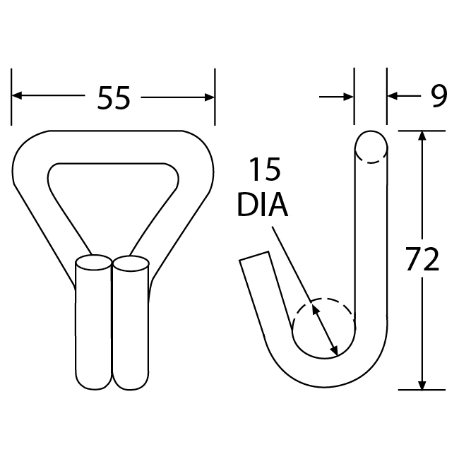 WH3530 - 35mm 3000kg Wire Hook - Diagram