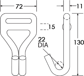 WH4050NS-12 - Wire Hook For One Way Lashings - Diagram