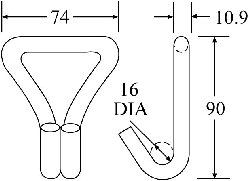 WH5050-OD - Olive Drab Wire Hook - Diagram