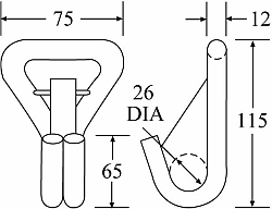 WH5050SNAP-12 - 50mm 5000kg Wire Snap Hook - Diagram